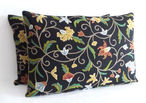 Decorative Accent Pillow Cover 16 x 26 Lumbar Crewel by JeTashi