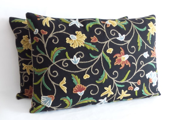 26 Inch Decorative Pillow Covers : Decorative Accent Pillow Cover 16 x 26 Lumbar Crewel by JeTashi