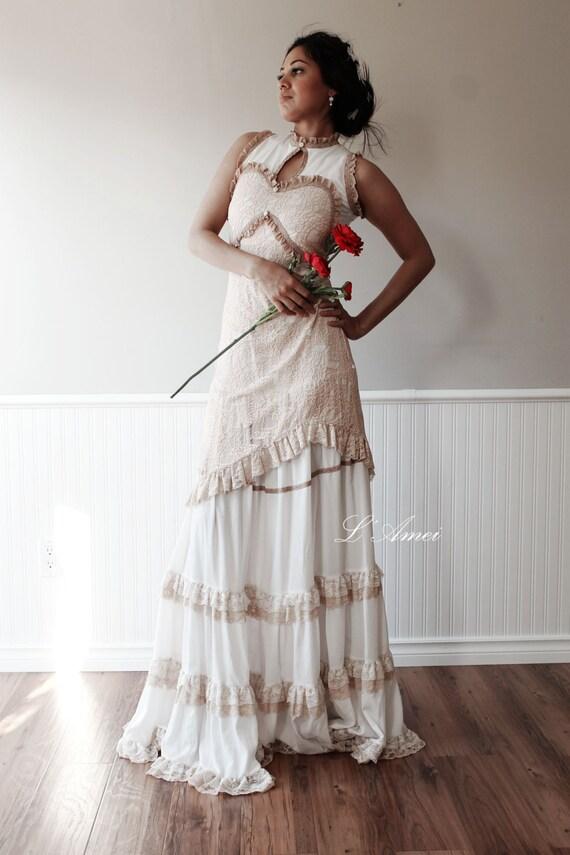Custom Made Vintage Victorian Style Wedding Bridal Dress In