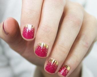 Raspberry Sparkle Nail Wraps
