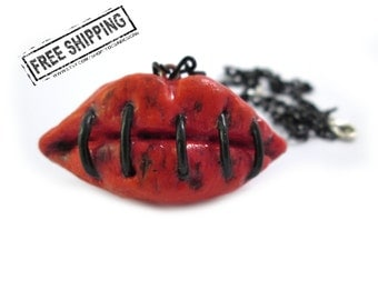 Lips creepy necklace horror jewelry zombie apocalypse zombie necklace zombie love stitched mouth creepy jewelry gothic jewelry psychobilly