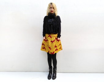 Yellow Horse Print Skirt, African Mini Skirt with Pockets and Elastic Waist, Short Skirt