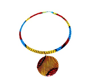 African Jewelry,Valentines Day Gift,  African wax print fabric necklace,Ethnic necklace,african fabric necklace Gift For her, Ethnic jewelry