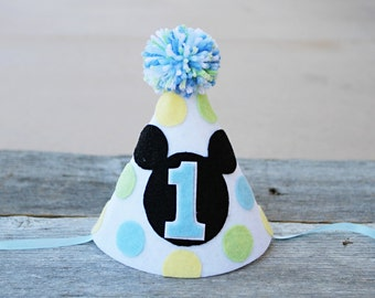 Boys 1st Birthday Baby Mickey Mouse Hat - Boys First Birthday Mickey Party Hat - Baby Blue