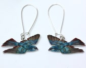 Long bird earrings, vintage print earrings, blue birds, handmade earrings, blue earrings, nature print earrings,