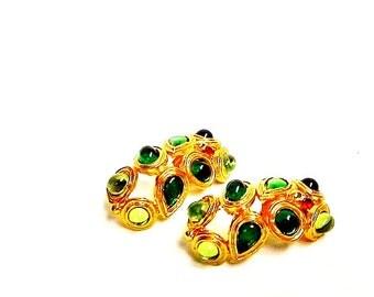 Stunning vintage green stones gold earrings