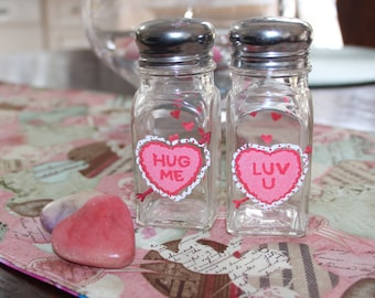 Valentines Hand Painted Salt and Pepper Shakers
