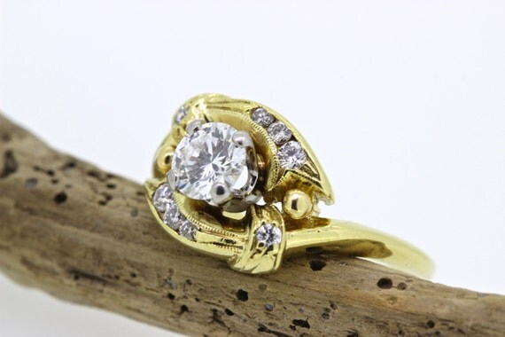 Vintage Engagement Ring 1960s Diamond by FergusonsFineJewelry