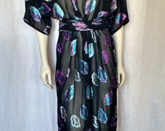 Vintage 80s Chromatic Leaf Dress
