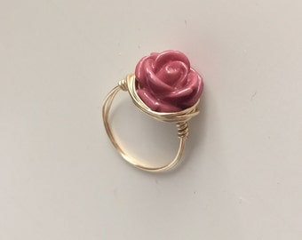 NEW! Wire Wrapped Rose Ring