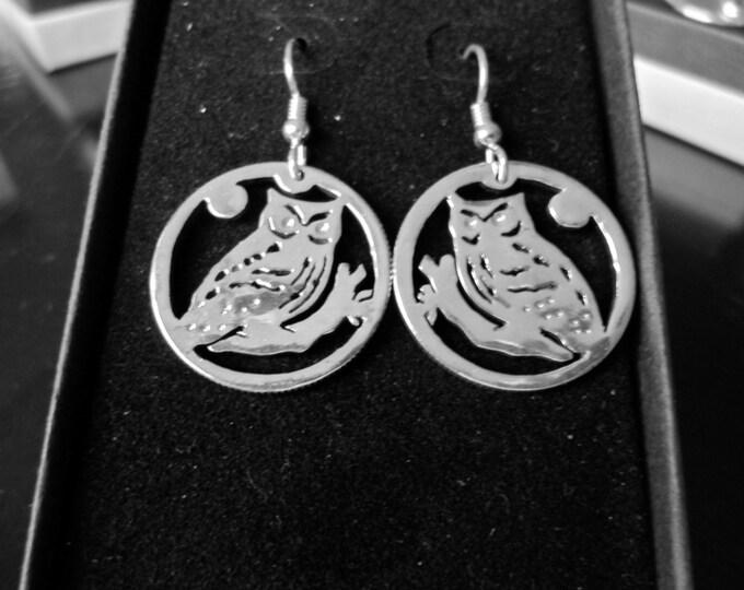 Owl earrings quarter size