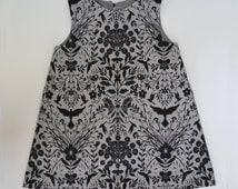 Ode To Bram Stoker - Ravens and Bees Gothic Art Nouveau Redux Cotton Print - Artisanal Dress for Children - Black on Gray