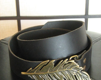 Leather Belt with Gold Feather Buckle