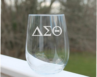 Etched Stemless wine glasses, Greek Letters,  Wine Glasses, Etched - 17oz, Wine Glasses, stemless wine glass etched, engraved