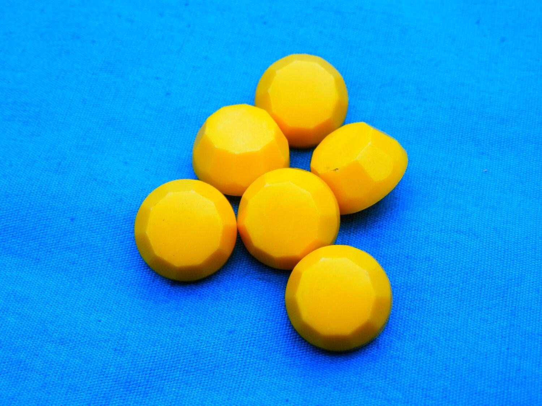 Set vintage lemon yellow plastic buttons for Lemon button
