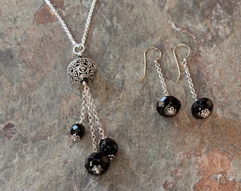 Onyx and Sterling Silver Pendant and Earring Set