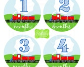 Train Baby Monthly Stickers - Baby Bodysuit Stickers - Monthly Baby Stickers - Boy Monthly Stickers - 021