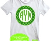 St. Patricks Day Iron On Transfer - Monogram Iron On - Shamrock Monogram Iron On - Shamrock Iron On - Digital and Printed Available