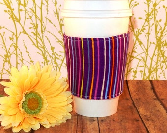 CLEARANCE / Fabric Coffee Cozy / Vertical Lines Coffee Cozy / Coffee Cozy / Tea Cozy