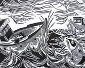 The Great Rescue Of Mr Fish, Original Woodcut, Fish Print, Black And White Art, Printmaking, Ben Prints