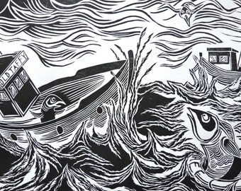 The Great Rescue Of Mr Fish, Original Woodcut, Fish Print, Black And White Art, Printmaking, Ben Prints