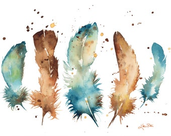 Watercolor Feathers print of my original painting, by Katrina Pete. Feather art, home decor, blue feathers, blue and brown, woodland, birds
