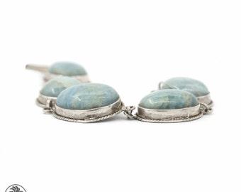 Amazonite Bracelet, Sterling Silver Bracelet, Bezel Set Bracelet | BR01164