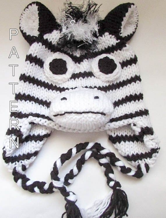 Knitting Pattern For Zebra Hat : Knitting Pattern Zebra Hat Horse Hat Character by WistfullyWoolen