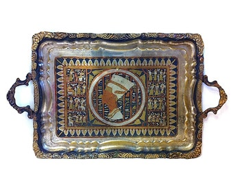 Vintage Metal Serving Tray Queen Nefertiti Ancient Egypt Egyptians Antique Tray Rectangular Tray Serving Platter Multicolored Mixed Metals