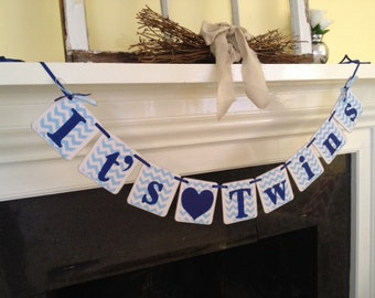 TWINS Baby Shower Decorations It's Twins Baby Banner chevron stripes photo prop Custom Colors Boy Girl Twins Banner Twins Decoration