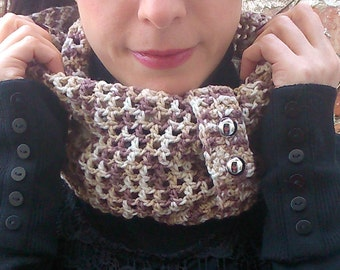 Spring Crochet scarf , infinity scarf with cuff and buttons . Cotton scarf with button.