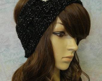 Crochet Ear warmer with Brooch