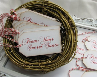 From Your Secret Santa Tags, Favors, Handmade Tags, Gift Tags, Christmas Tags, Santa Tags, Secret Santa, Office Party - Set of 8