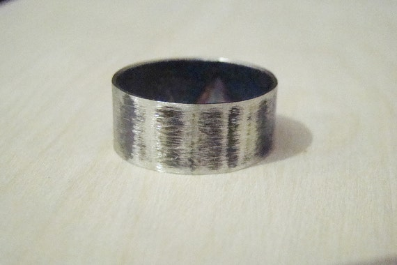 Mens Wedding Band Textured Mens Ring Hammered German Silver