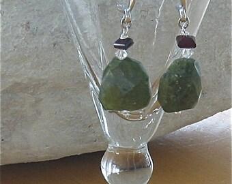 Green Stone Pierced  Earrings