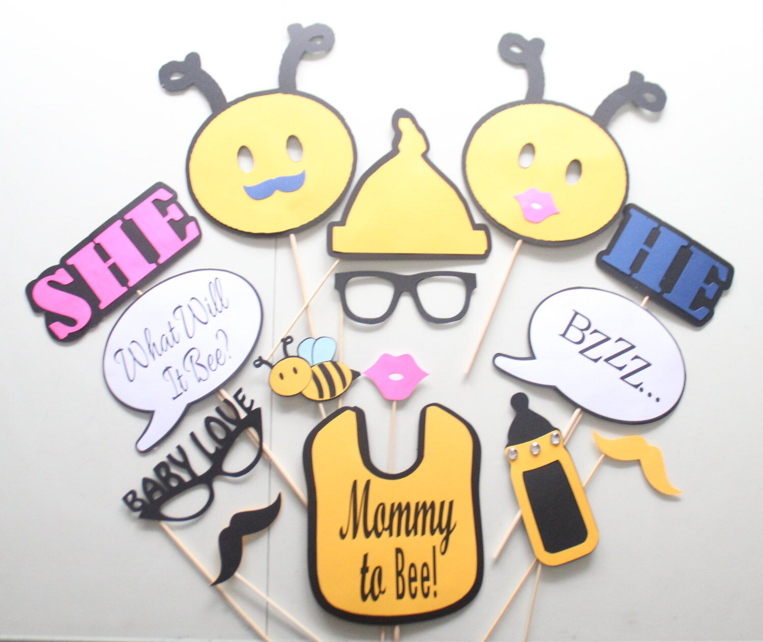 15pc What Will It Bee Baby Shower PhotoboothPops