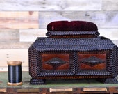 Early 1900s Tramp Art Sewing Box, Antique Sewing Box, Pin Cushion, Folk Art