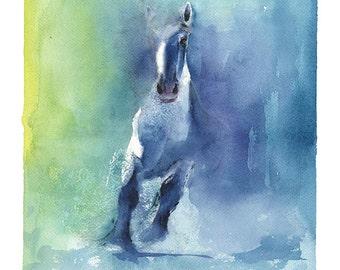 WATERCOLOR HORSE PAINTING - horse spirit, horse wall art, horse home decor, horse lover, spirit animal art, bathroom art, painting of horse