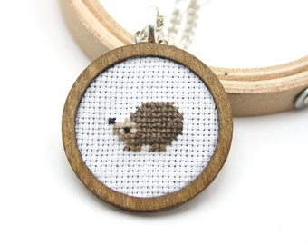 Hedgehog cross stitch necklace - Hand Embroidered Necklace - woodland animals cross stitch necklace