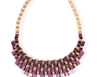 Purple ombre bib necklace, purple statement necklace