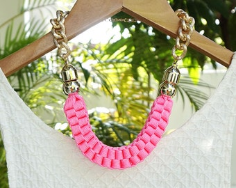 Pink fabric statement necklace, neon pink weaved rope necklace