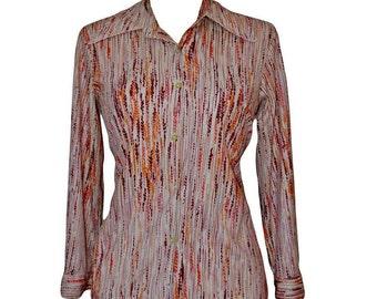 Womens/Ladies 1970's Vintage Clothes, Retro Striped Blouse