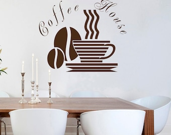 Wall Decals Coffee House Sign Decal Cup Beans Design for Kitchen Cafe Coffee House Shop Store Vinyl Sticker  Home Decor ML109