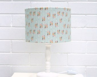 Mint green rainbow arrows fabric lampshade, small fabric lampshade, for table lamps