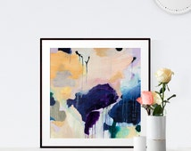 Claire, 6x6-24x24in, Abstract Fine Art Print, abstract print, blue, pink, green