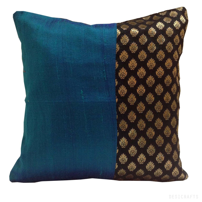 blue black and gold color block silk pillow cover by desicraftshop. Black Bedroom Furniture Sets. Home Design Ideas