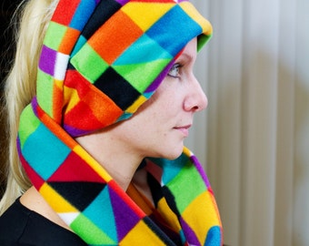 Super warm and soft colorfull Cowl infinity scarf Fleece scarves blue red white yellow green
