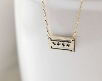 antique Gold Chicago flag necklace, Chicago necklace, dainty chicago flag necklace