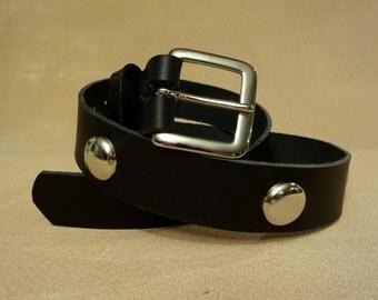 """Black Leather Belt with Studs - Studded Black Leather Belt - 1-1/2"""" Black Leather Belt - Custom Black Leather Belt"""