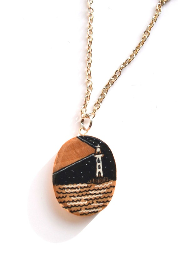 lighthouse pendant silver wooden nautical necklace wood